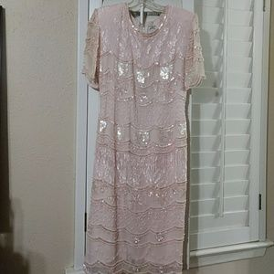 Vintage Pink Sequin/Pearl Evening Dress